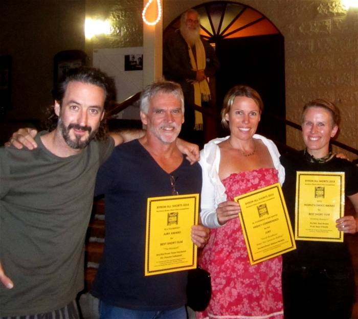 FF2014 Byron All Shorts - Winners - Peter Hardwick & Pancho Colladetti (The Bouquet)  Melissa Nesbitt (David Bradbury-KTCR) Rani Brown (K-Nannas)